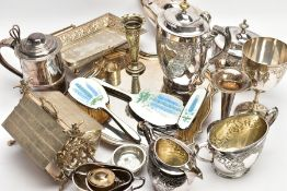 A BOX OF WHITE METAL WARE, to include a wavy sqaure shaped salver with an engraved centre, an