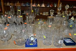 A QUANTITY OF CUT GLASS ETC, to include a set of six brandy glasses, six whisky glasses, six wine