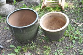 TWO GLAZED GARDEN PLANTERS both in green , one 41cm in diameter the other 38cm in diameter (2)