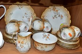 AN EARLY 20TH CENTURY M. REDON LIMOGES PORCELAIN TEA SET, blush ivory ground printed with floral