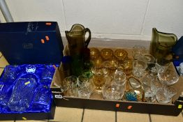 TWO BOXES AND LOOSE GLASSWARE, to include a boxed Bohemian Crystal decanter and four glasses and a