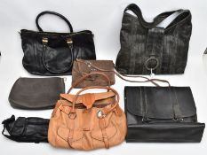 SIX BAGS, to include a black leather Warehouse tote bag, a brown suede Vimoda bag with alligator