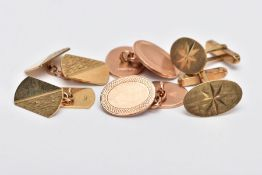 THREE PAIRS OF GOLD CUFFLINKS, the first pair of chain link oval design, the second pair of curved