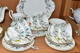 A ROYAL ALBERT 'BRIGADOON' PATTERN SECONDS TEA SET, comprising a bread and butter plate, milk jug,