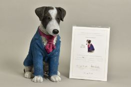 DOUG HYDE (BRITISH 1972) 'SUITED AND BOOTED' a limited edition sculpture of a dog 126/195, impressed