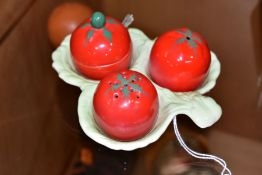 A CARLTONWARE NOVELY CRUET SET, shaped as tomatoes, to include salt, pepper, covered mustard pot