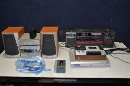 A SONY MD313 MICRO HI FI with Mini Disc, CD, Tape and matching speakers with remote, a Ferguson