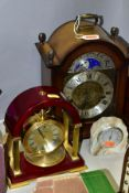 A FRANZ HERMLE WESTMINSTER EIGHT DAY BRACKET CLOCK WITH MOON PHASE DISPLAY, the silvered chapter