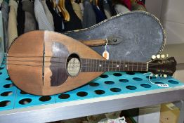 A CASED STRIDENTE EIGHT STRING MANDOLIN (missing two strings and crack to back), together with HMV