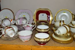 FIVE ASSORTED PART TEA SETS INCLUDING A ROYAL DOULTON CREAM AND GILT PATTERN, No.BB2039/H2908,