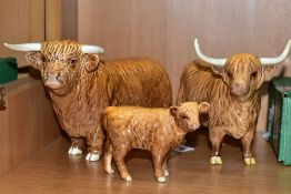 BESWICK HIGHLAND CATTLE, comprising Bull No 2008, Highland Cow No 1740 and Calf No 1827D (3) (