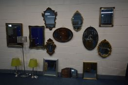 TWELVE VARIOUS WALL MIRRORS of various styles, sizes, ages and materials, along with a modern
