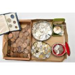 BOX AND TINS OF MIXED COINS to include a bronze medal 65 gr 51mm World Cup Countries from 1930