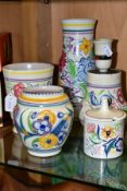 FIVE PIECES OF POOLE POTTERY, comprising three various vases including traditional LE pattern