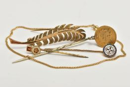 FIVE ITEMS OF JEWELLERY, to include a 9ct gold fine curb link bracelet, a 9ct gold leaf brooch, both