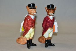TWO ROYAL DOULTON HUNTSMAN FOX, D6448, one is badly cracked and does not bear the model number,