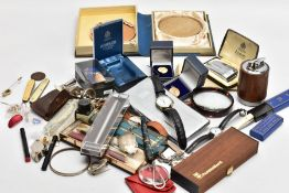 A BOX OF MISCELLANEOUS ITEMS, to include a silver 'Brandy' decanter label, hallmarked 'Colen Hewer
