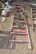 THREE PAIRS OF MODERN CAST ALUMINIUM BENCH ENDS and a slightly distressed wooden step ladder (4)