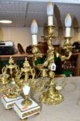 A GILT METAL TABLE LAMP IN THE FORM OF A THREE LIGHT CANDELABRA, height approximately 45cm excluding