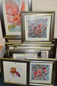 FOURTEEN MODERN DECORATIVE PRINTS, all in silver frames, mounted, framed and glazed, subjects
