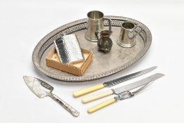 A SELECTION OF PEWTER AND WHITE METAL ITEMS, to include a pewter tankard signed to the base 'English
