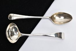 A SILVER TEASPOON AND A SILVER SAUCE LADLE, the teaspoon of an old English pattern, engraved