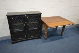 A LATE VICTORIAN PINE DROP END KITCHEN TABLE, on turned legs, open length 88cm x closed 63cm x depth