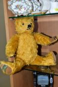 A MERRYTHOUGHT HARRODS TEDDY BEAR, limited edition No. 496 of 1000, golden plush jointed body,
