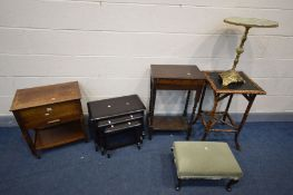 A QUANTITY OF OCCASIONAL FURNITURE, to include an oak sewing box, dark oak nest of three tables, oak