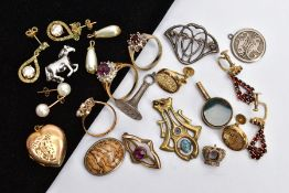 A BOX OF ASSORTED YELLOW AND WHITE METAL JEWELLERY, to include a pair of non-pierced yellow metal