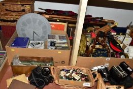 FIVE BOXES AND THREE SMALL WICKER BASKETS OF BOOKS, METALWARES, etc, including buttons, walking