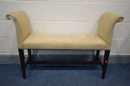 A 19TH CENTURY CHIPPENDALE STYLE MAHOGANY WINDOW SEAT, length 107cm (crack to stretchers)