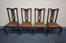 A SET OF FOUR EARLY 20TH CENTURY CHIPPENDALE STYLE DINING CHAIR (Sd)