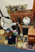 TWO BOXES AND LOOSE, VINTAGE BOTTLES, BOOKS, ETC, including a boxed and cased Signalling Equiment