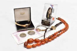 A LADIES 9CT GOLD REGENCY WRISTWATCH AND COSTUME JEWELLERY, the watch with a round silver dial