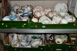 FOUR BOXES OF TEAWARES, VASES, ORNAMENTS, ETC, to include Spode 'Cutie-Kitten' cup and saucer and
