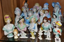 SEVENTEEN LATE/EARLY 20TH CENTURY PORCELAIN HALF-DOLLS, together with five other ceramic miniature