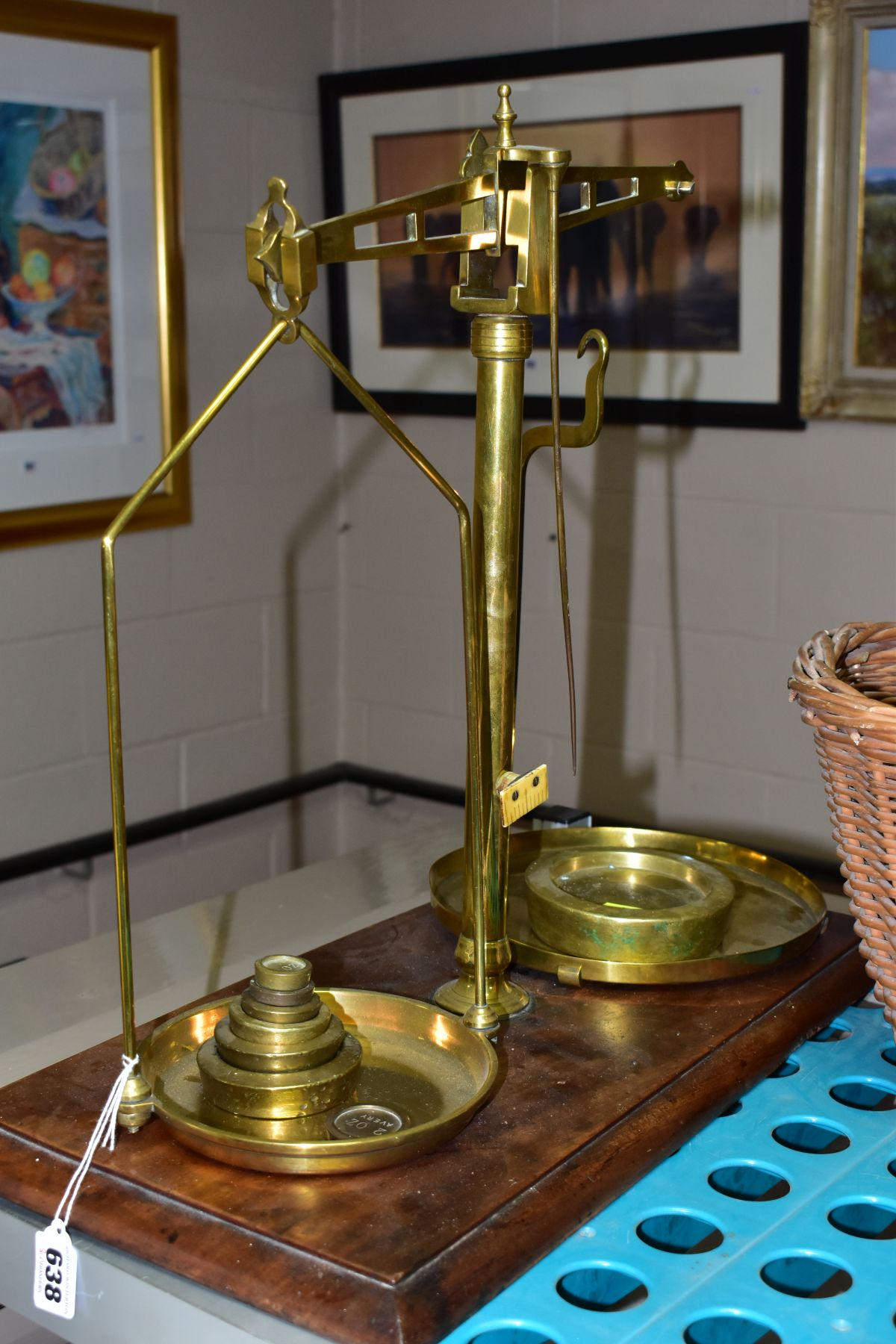 A GROUP OF COPPER, BRASS, WICKER BASKETS, ETC, including a set of balance scales on a mahogany - Image 2 of 11
