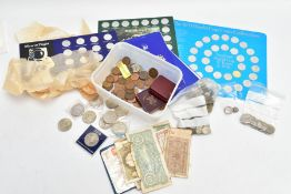 A CARDBOARD BOX OF COINS AND COMMEMORATIVES to include a Coronation medal in bronze struck by the