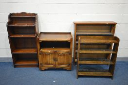 FOUR VARIOUS PIECES OF OAK FURNITURE, to include a linenfold two door cabinet, a tall open