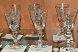 A SET OF TWELVE BOXED LIMITED EDITION CAITHNESS ENGRAVED GLASS GOBLETS, from the series of Twelve