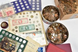 A LARGE PLASTIC TRAY OF MIXED COINS to include a framed display of coin and banknotes, some Shell