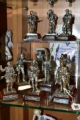 ELEVEN ROYAL HAMPSHIRE PEWTER MILITARY FIGURES, ten boxed, all with titled wooden plinths, including