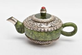 AN ORIENTAL NEPHRITE AND WHITE METAL TEAPOT, polished nephrite body and handle, the top and bottom