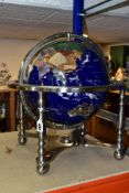 A BOXED OSBORNE AND ALLEN GEM STONE TERRESTRIAL GLOBE, inset with semi-precious stones, supported by