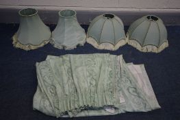 A PAIR OF GREEN DOMED TABLE LAMP SHADES, two other green shades, and a pair of green curtains (5)
