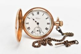 A GOLD-PLATED HALF HUNTER 'WALTHAM' POCKET WATCH, round white dial signed 'Waltham U.S.A', Roman
