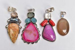 FOUR WHITE METAL SEMI-PRECIOUS STONE SET PENDANTS, set with a variety of semi-precious stones such