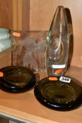 A NEAR PAIR OF HOLMEGAARD GLASS SHALLOW DISHES AND TWO OTHER PIECES OF GLASSWARE, the Holmegaard