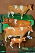 BESWICK GUERNSEY CATTLE, comprising Bull Ch. Sabrina's Sir Richmond 14th, No.1451 two Guernsey Cows,
